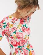 ASOS DESIGN - Mini-wigglekjole med blomsterprint-Multifarvet