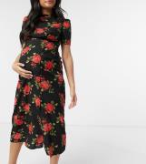 ASOS DESIGN Maternity - Tea-midikjole med knapper i roseprint-Multifarvet