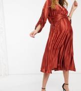 ASOS DESIGN Maternity - Plisseret minikjole med rynkede ærmer i mokka-Multifarvet