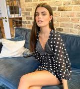 ASOS DESIGN Petite - Monokrom prikket minikjole med ballonærmer og knapper foran-Multifarvet