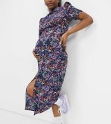 ASOS DESIGN Maternity - Tea-midikjole med knapper i lilla blomsterprint-Multifarvet