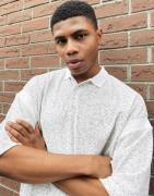 ASOS DESIGN - Gråmeleret oversized poloskjorte i velour-fleece-Hvid
