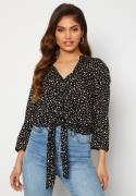 Happy Holly Juliette ss knot shirt Black / Offwhite 32/34