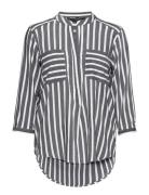 Vmerika Stripe 3/4 Shirt Top E10 Noos Bluse Langærmet Grå Vero Moda